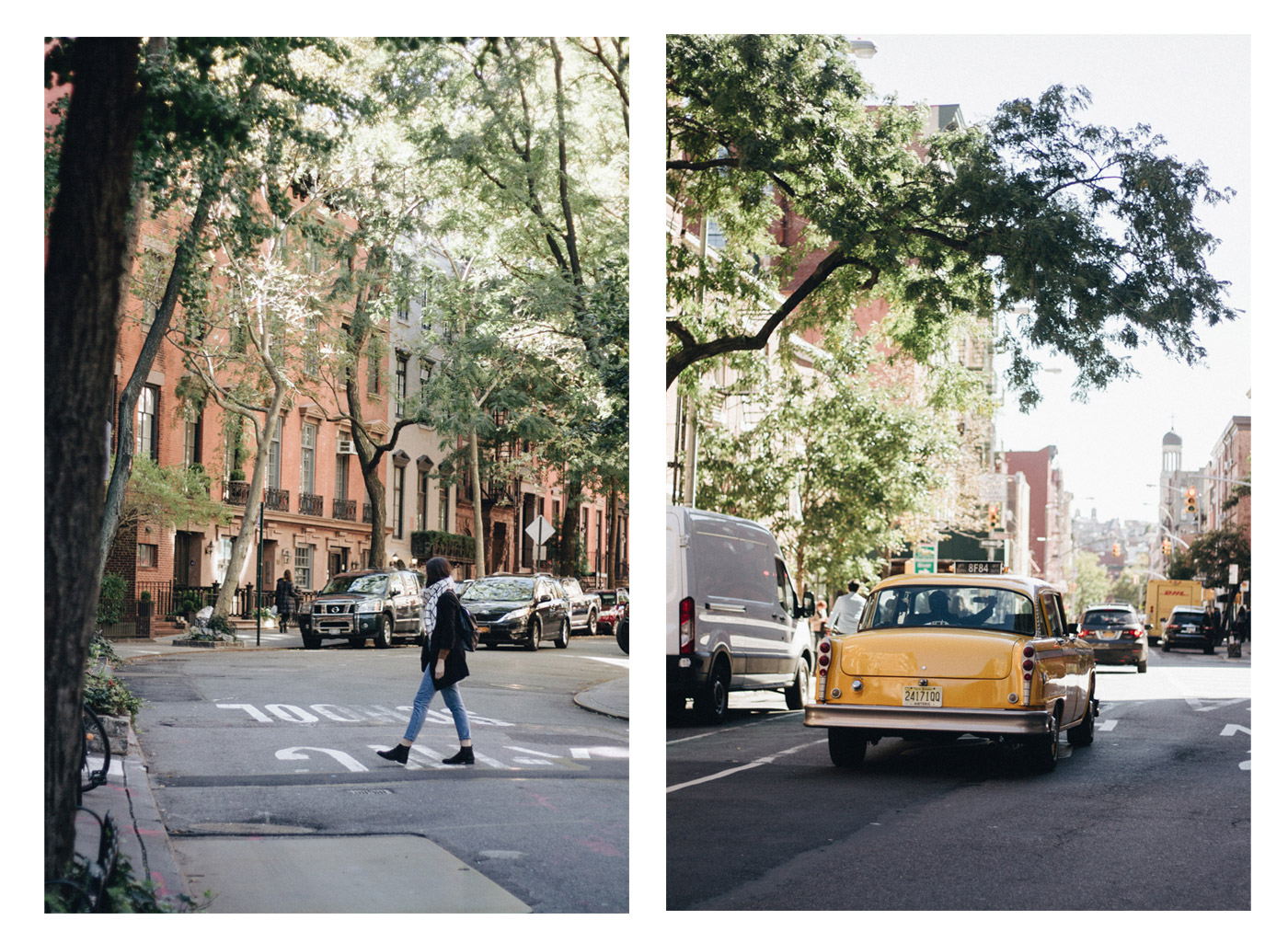Yellow cab in the street of new york city in west village