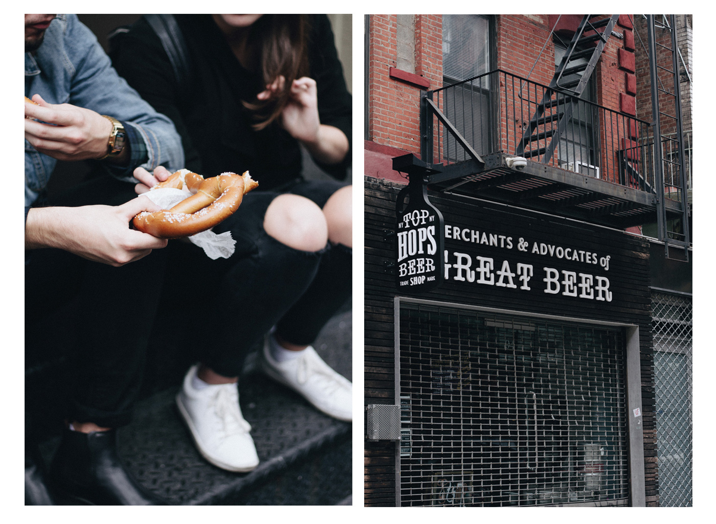 You guys have to eat one huge pretzel in New York city