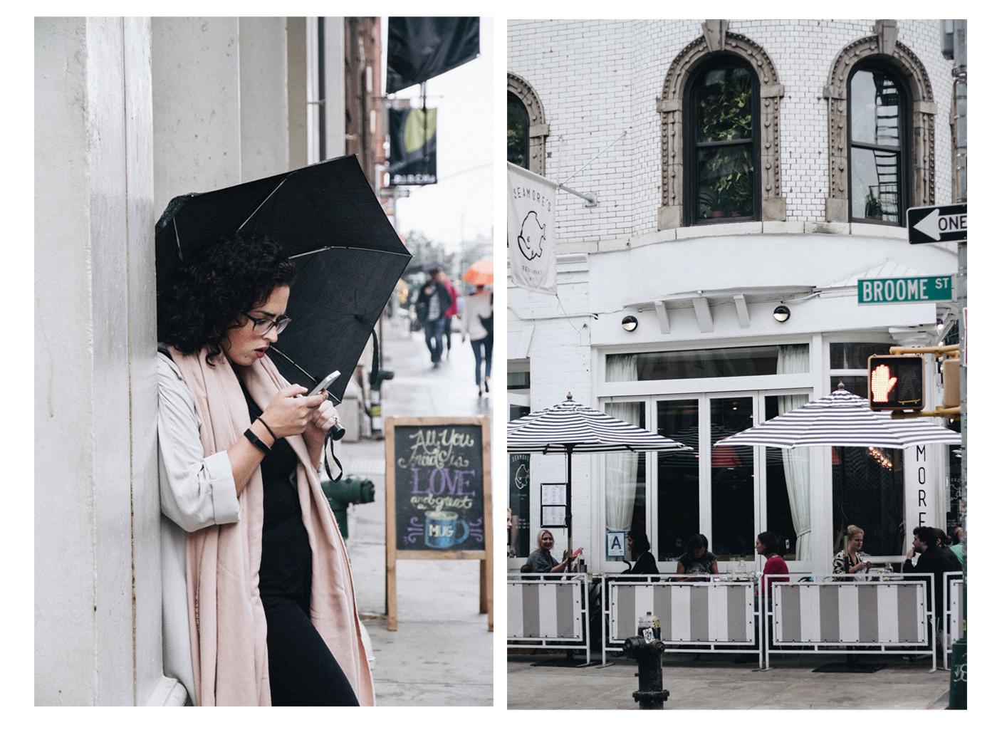 My friend waiting under the rain with her cute umbrella