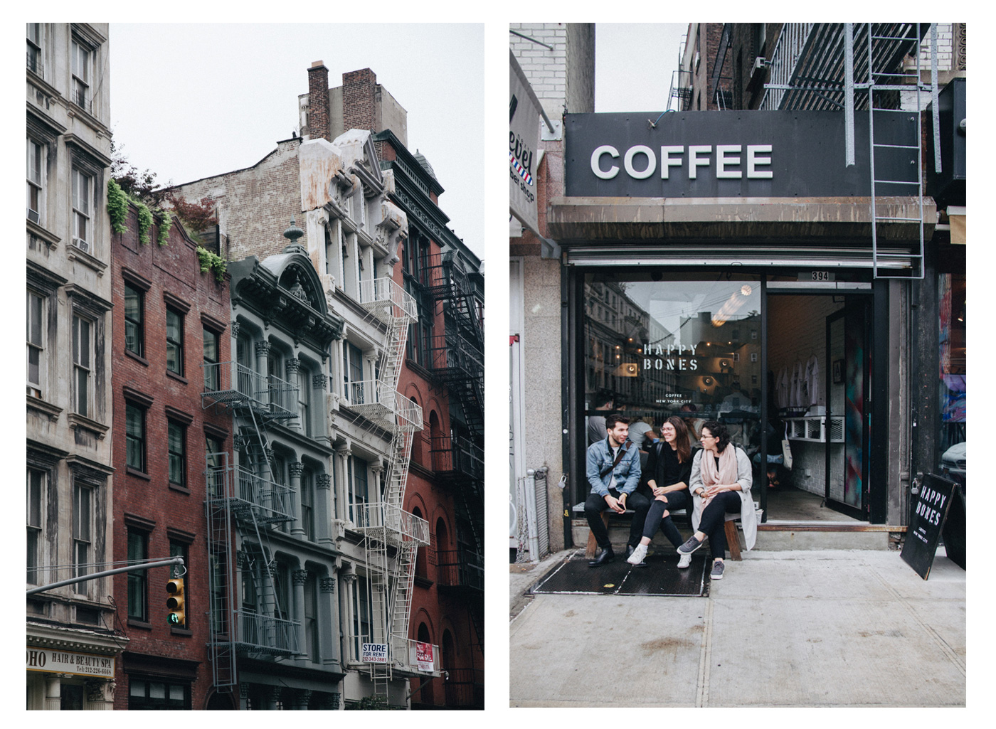 Soho and a nice coffee shop called Happy Bones