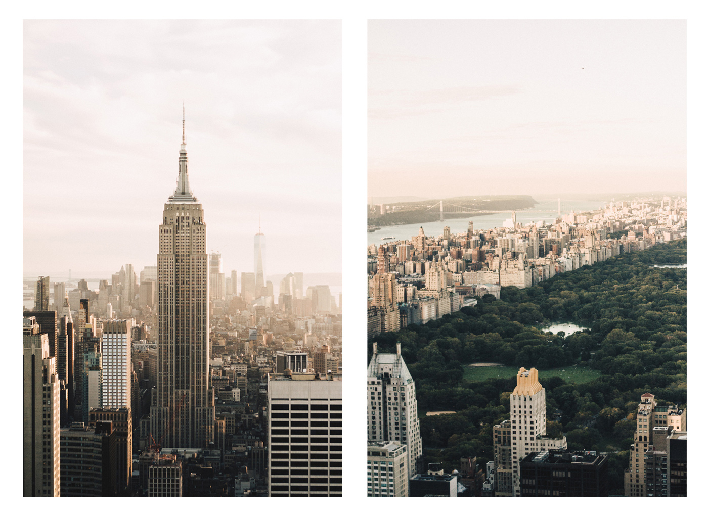 INSANE VIEW OF NEW YORK CITY FROM THE TOP OF the rock during the golden hour