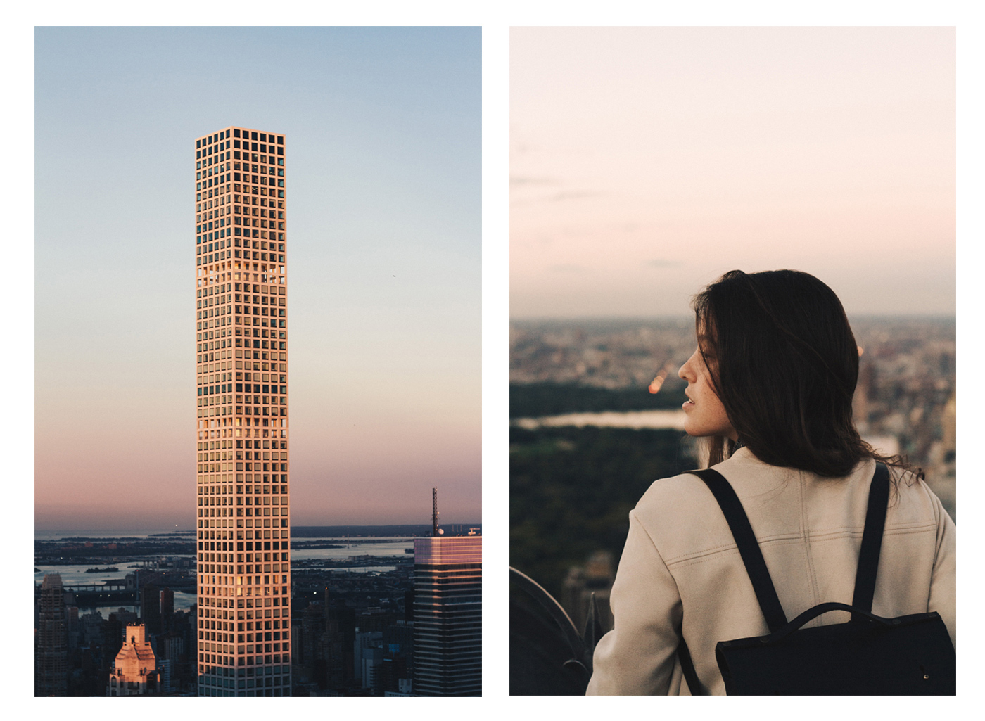 View from the top of the rock in New York city during golden hour with a girl admiring this insane view