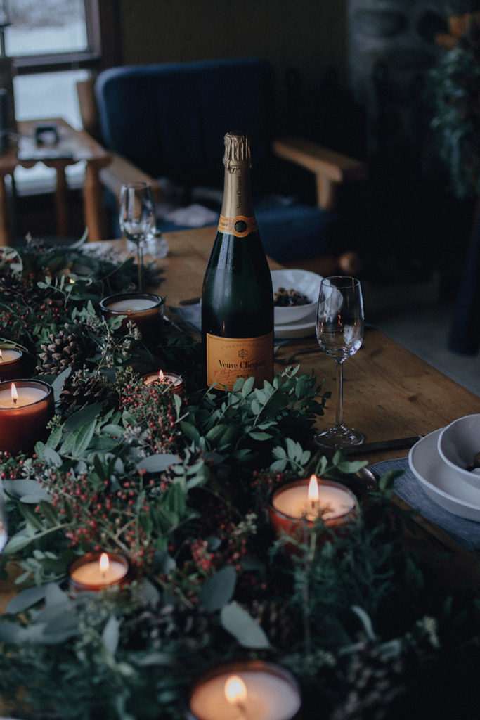 Brunch at the cabin with friends and veuve cliquot